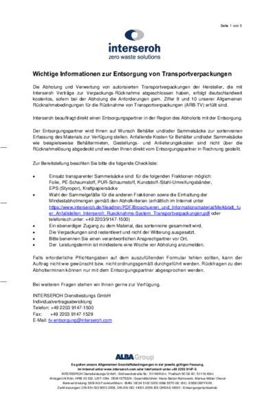 Auftrag zur Entsorgung von Transportverpackungen an Baustellen