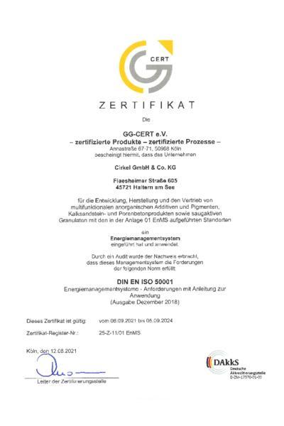Zertifikat DIN EN ISO 50001