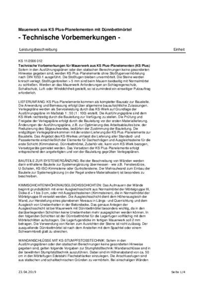 KS-PLUS-Planelemente mit Dünnbettmörtel - Ausschreibungstext (PDF)
