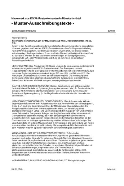 Mauerwerk aus KS XL-Rasterelementen in Dünnbettmörtel - Ausschreibungstext (PDF)