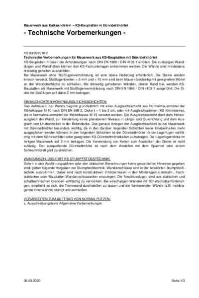 KS-Bauplatten in Dünnbettmörtel Ausschreibungstext (PDF)