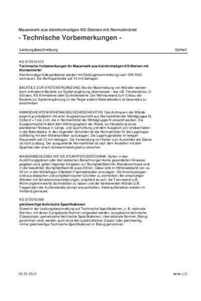 Mauerwerk aus kleinformatigen Kalksandsteinen mit Normalmörtel - Ausschreibungstext (PDF)