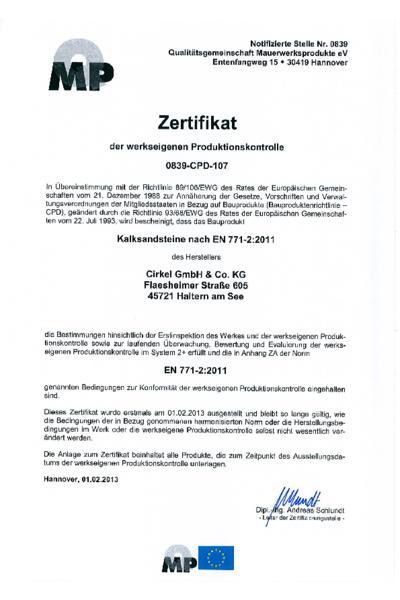Zertifikat der werkseigenen Produktionskontrolle in Haltern