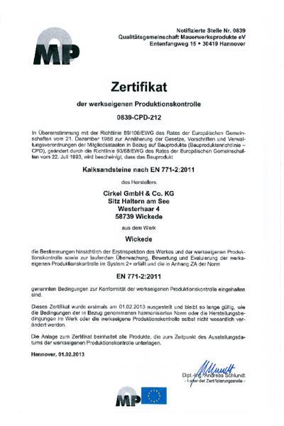 Zertifikat der werkseigenen Produktionskontrolle in Wickede