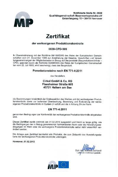 Zertifikat Porenbeton