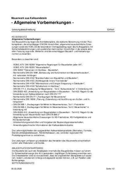 Mauerwerk aus Kalksandstein - Allgemeine Vorbemerkungen für Ausschreibungstexte (PDF)
