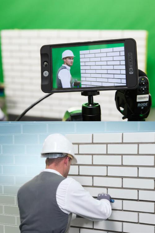 Um den eigentlichen Arbeitsschritt in den Fokus zu setzen wurden die Videos in Greenscreen-Technik aufgenommen. So konnte die Baustellenszenerie im Nachgang eingesetzt und entsprechend zurückhaltender gestaltet werden.